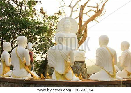Buddha and disciples.