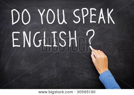 Aprendizagem de língua - Inglês. Conceito de educação lousa dizendo fazer você falar Inglês? escrito em Ch