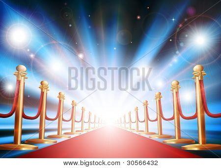 Großer Auftritt mit roten Teppich und Taschenlampen