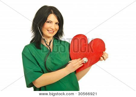 Happy Health Worker Checkup Heart