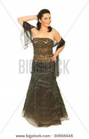 Attractive Woman In Elegant Long Dress
