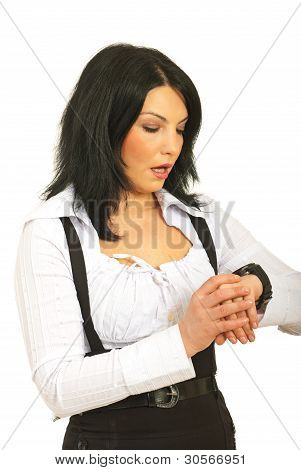 Surprised Business Woman Checking Time