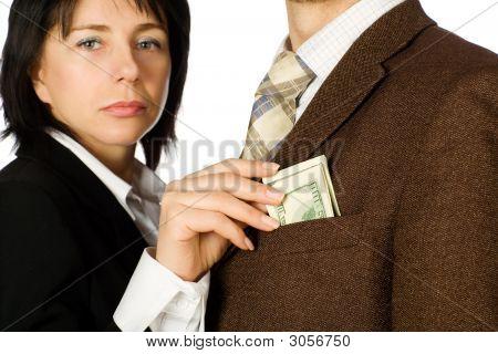 Woman Takes A Money