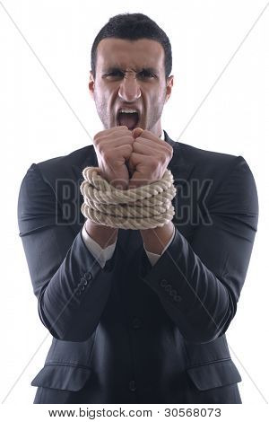 Business man pulling and bond tied with rope  concept  isolated on white background in studio