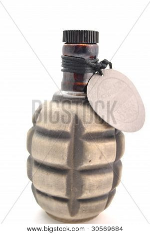 Bottle Like A Grenade Over A White Background