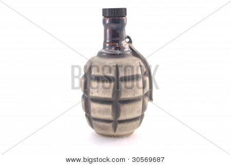 Clay Bottle In The Form Of Grenades With Handles