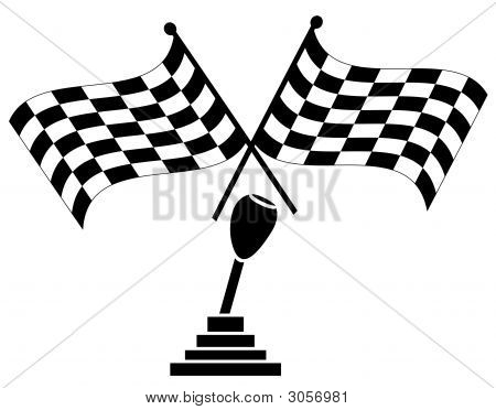 Checkered Flag Two Crossed W Stick Shift