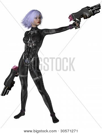 Science Fiction Catsuit Girl Shooting