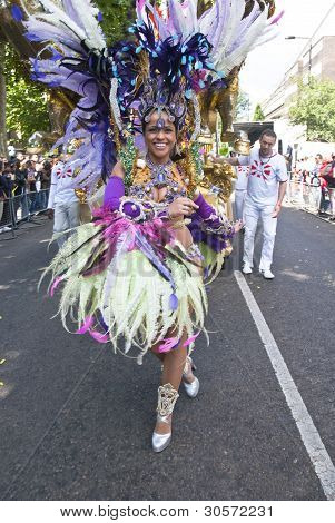 Dancer From The Paraiso School Of Samba Float At The Notting Hill Carnival