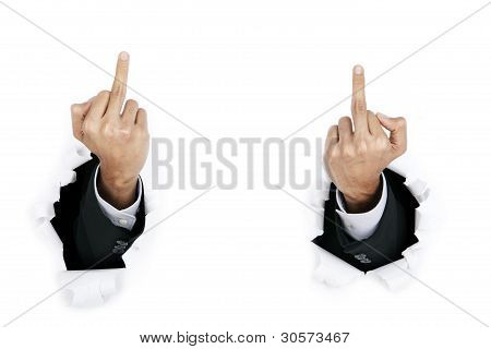 Angry businessman showing middle finger