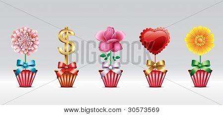 Gruß Symbolsatz mit Herzen und Blumen