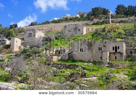 Lifta, a Jerusalem village which was abandoned by the Palestinians during the Israeli War of Independence.
