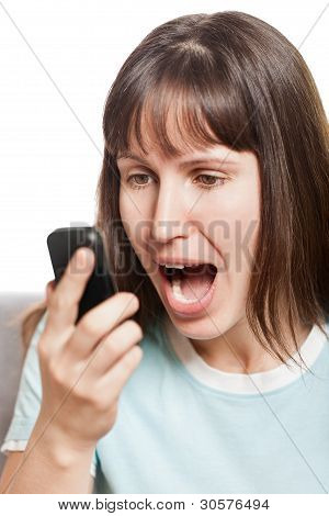 Angry Woman Talking Mobile Phone