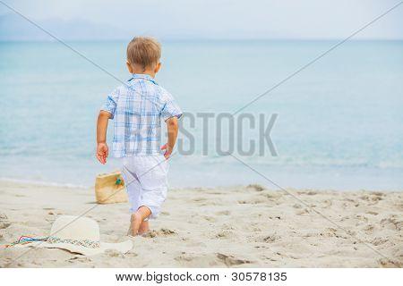 Boy on beach vacation
