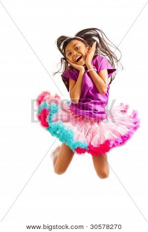 Cute Asian Little Girl Jumping