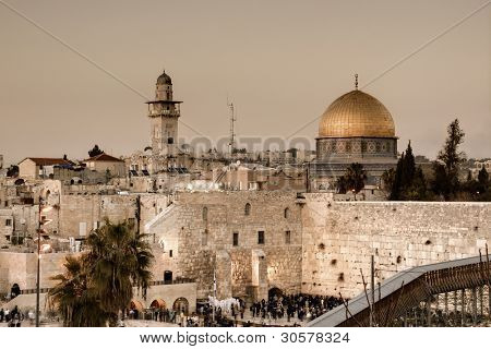 The Western Wall, also known at the Wailing Wall or Kotel, is the remnant of the ancient wall that surrounded the Jewish Temple's courtyard in jerusalem, Israel.