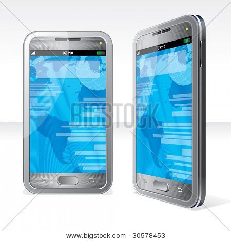 Detailed Vector Illustration of Abstract Touchscreen Smartphone