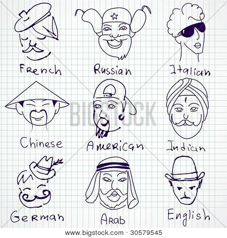 A set of different stereotypes of nationalities from all over the world. Hand drawn doodles.