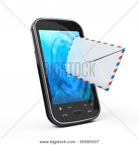Smartphone und Umschlag - SMS- und e-Mail-Konzept