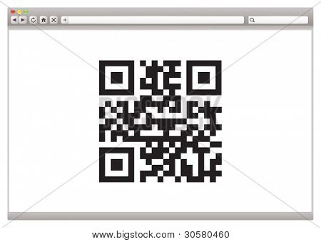 Internet browser concept with QR code for product identification