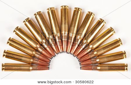Rifle Bullets Packed In A Half Circle