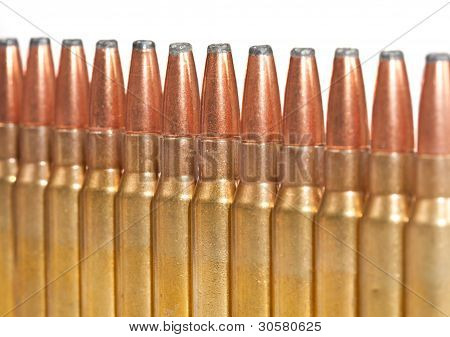 Rifle Bullets Packed In A Straight Line