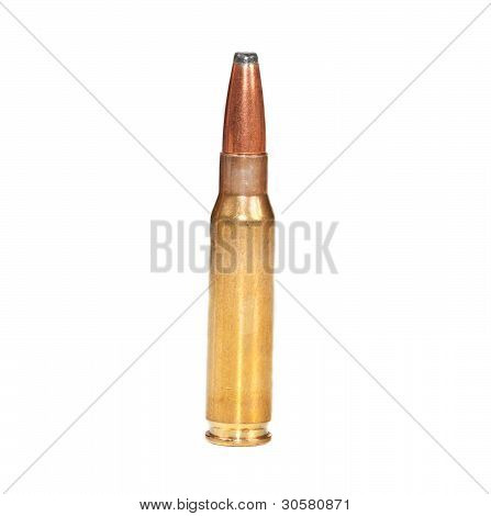 Single Rifle Bullet On White Surface