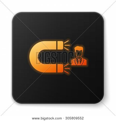 poster of Orange Glowing Customer Attracting Icon Isolated On White Background. Customer Retention, Support An