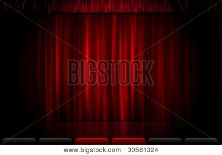Vector red stage curtain
