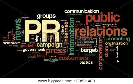 PR-Konzept in Wort Tagwolke auf schwarzem Hintergrund