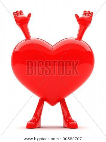 Heart shaped mascot with its hands up representing surrender of love