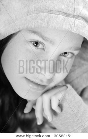 Young girl with freckle face