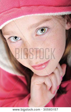 Pretty girl wearing pink hoodie