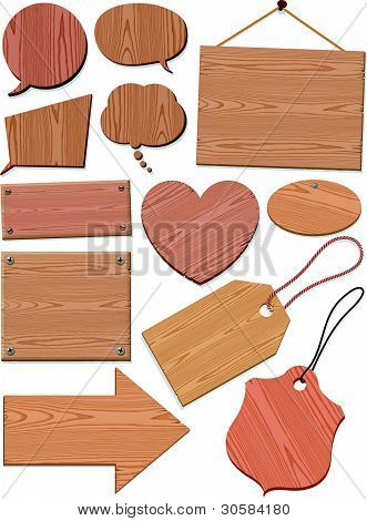 Set Of Woodgrain Icons