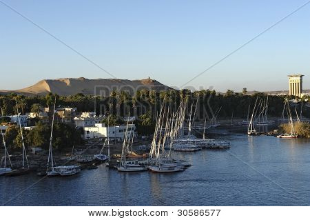 River Nile Scenery At Evening Time