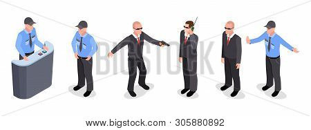 poster of Vector Isometric Set Of Guards, Police Officers, Agents Isolated On White Background. Illustration O