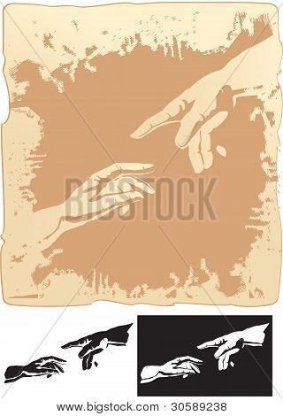 dos manos estilizadas para mural de creación de Miguel Ángel