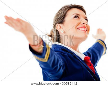 Flight attendant with arms open - isolated over a white background