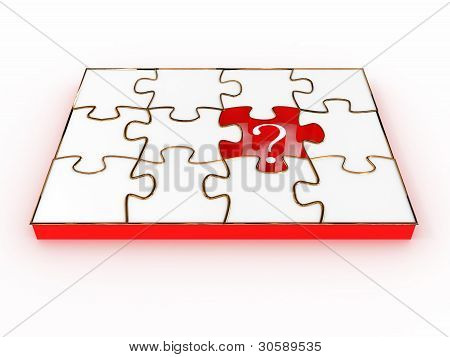 Jigsaw Puzzle mit Zeichen Frage isolated on white Background. 3D Bild