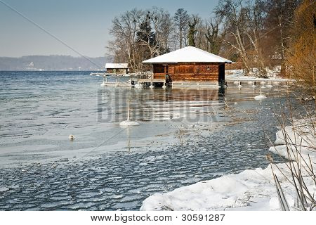 Winter scenery at Starnberg Lake in Germany