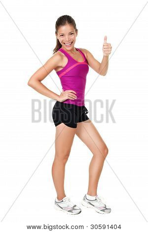 Fitness Woman Thumbs Up Success Sign