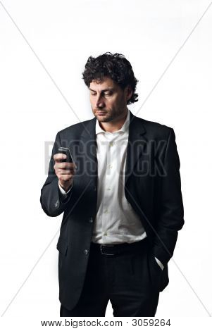 Business Man Replying A Call