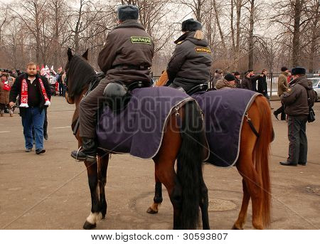 Mounted Police Officers Before Soccer Game