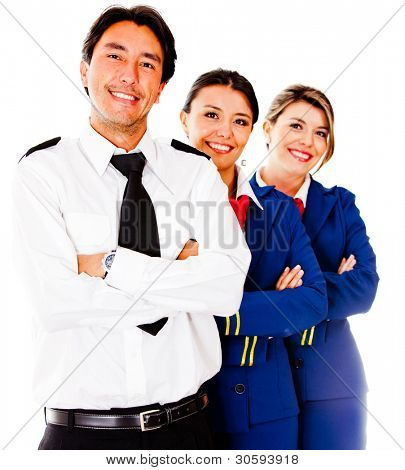 Friendly cabin crew smiling �?�¢?? isolated over a white background