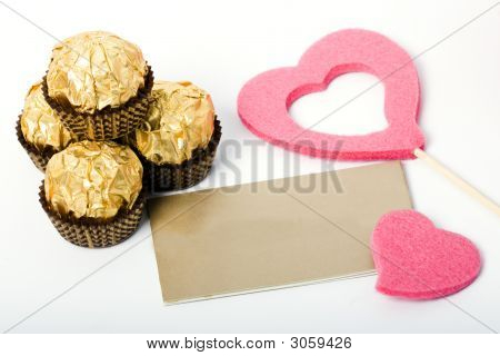 Candies And Card Heart Shapes