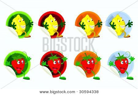 Set-of-vector-stickers-with-lemon-and-strawberry
