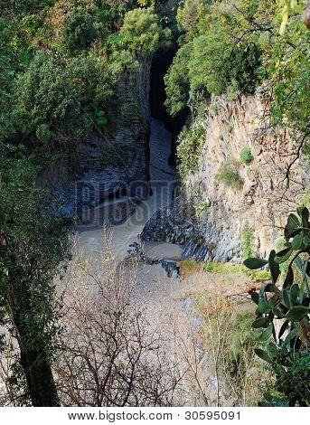 Alcantara river gorge in Sicily, Italy