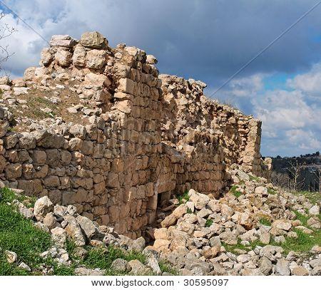 Ruins of crusader castle Bayt Itab near Jerusalem, Israel
