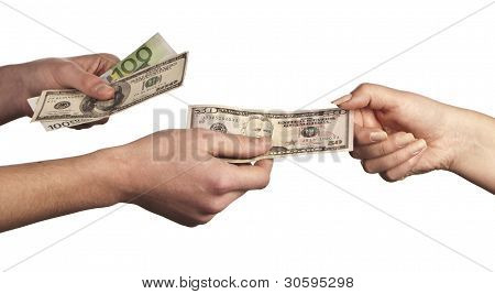 Hand Giving Money To Other Hand