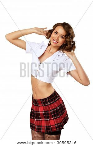 Woman dressed in retro style
